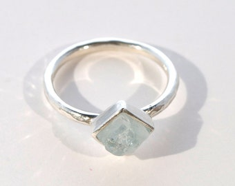 Square Aquamarine and Silver Stacking Ring