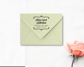 Popular items for address label stamp on etsy for Return address on wedding invitations sample
