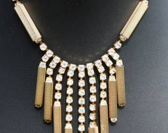 Vintage Deco Necklace with Rhinestones and Gold Bars