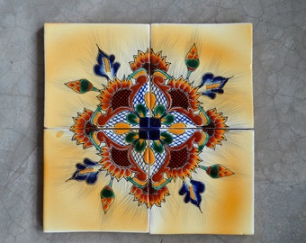 """4 Mexican Talavera Tiles handmade, Hand painted (Exclusive) 4 """"X 4"""""""