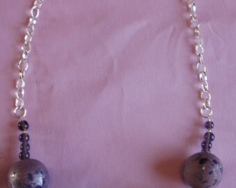 Purple Porcelain and Chain Necklace