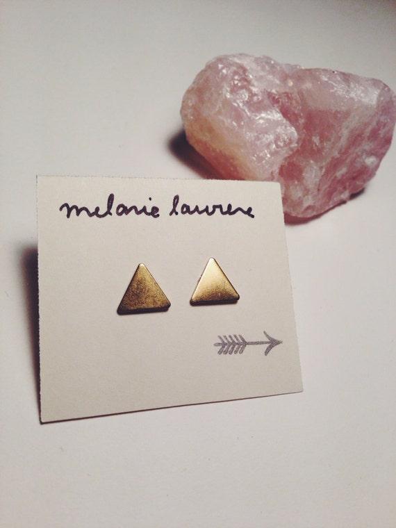 Ohrringe GOLD-Dreieck / / hypoallergen kleine goldene Dreieck Ohrringe