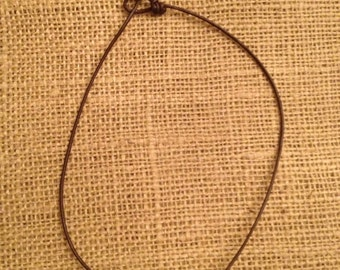 Simple One Pearl Leather Necklace