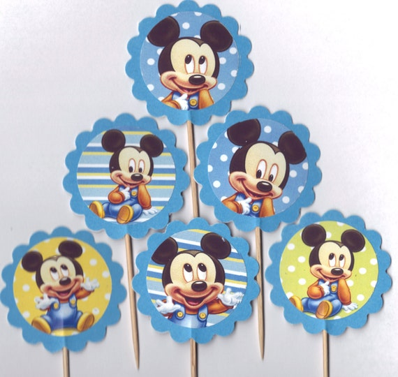 Cake Toppers Baby Mickey : Baby Mickey Mouse Cupcake Toppers Birthday Party Decorations