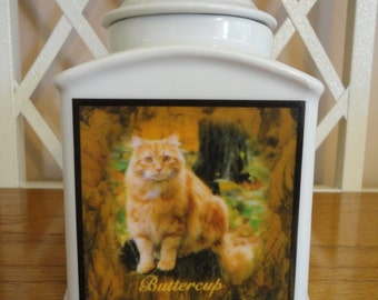 """Pet Urn, Memorial """"Personalized"""", Cat, Dog, Photo Urn, Add photo or poem, Name, Dates"""