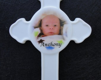 Baby's 1st Ornament *Your Photo* Christmas, Holiday, Baby Pet, Memorial, Cross, Christening,