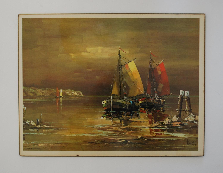 Vintage Nautical Wall Decor: Nautical Decor Wall Art. Vintage Sailboat Print By Venturi