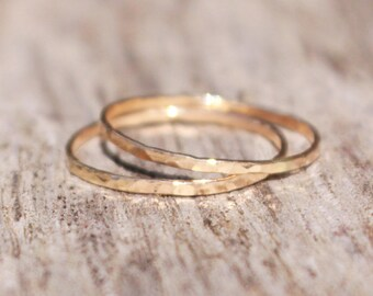 Stacking Rings 14K Gold Filled Hammered 16 gauge Set of two delicate gold rings