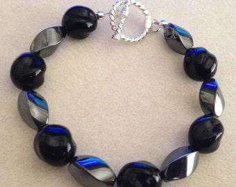 Black and Hematite (Metallic) Beaded Bracelet