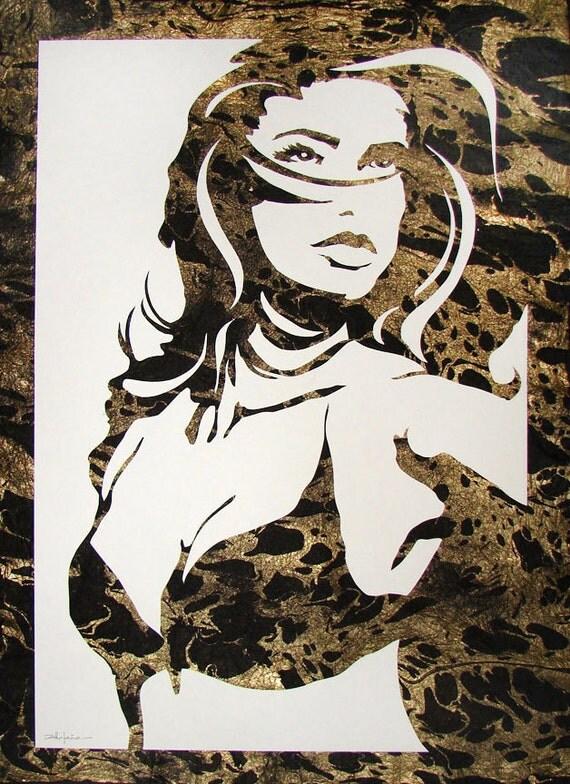 original art female figure in mixed media by villafanaart