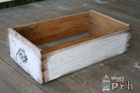 Script Wood CRATE - Box, Wooden, Handle, Vintage