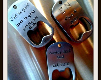 Hand Stamped Stainless Bottle Opener Magnet - Personalized