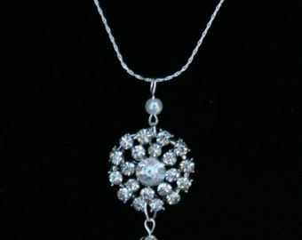 Bridal jewelry Pearl necklace Rhinestone necklace Wedding jewelry pearl bridal jewelry crystal bridal jewelry