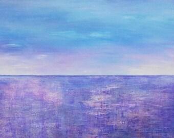 Acrylic Landscape Painting Abstract Canvas Art Turquoise Blue Original CONTEMPORARY FINE ART Abstract Seascape Art 24x24x1,5 60cmx60cmx3,6cm