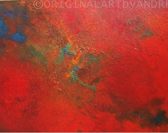 Art Painting Acrylic Canvas Abstract CONTEMPORARY ART ORIGINAL Landscape Textured Art Red Blue Green Canvas Art 28x20x3/4 (70cmx50cmx1,8cm)