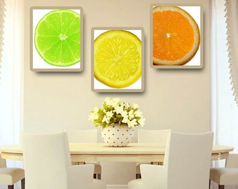 Lime Lemon Orange CitrusKitchen Art Set of 3 Printable Instant Download Print Home Decor Wall Art KA14009-10-11