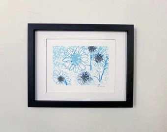 """Blue Sunflower's Drawing. Framed Matted Print 8.5"""" x 11"""""""