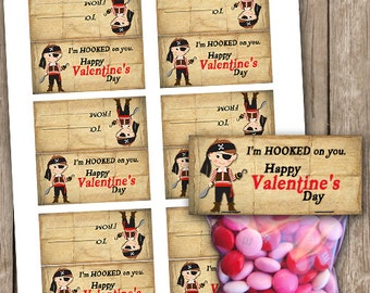 Valentines Pirate Small Treat Bag Toppers School Class Party Favors INSTANT DOWNLOAD