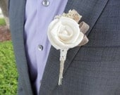 Items Similar To Single Rose Boutonniere Natural Sola