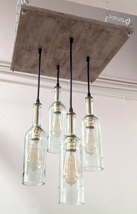 Recycled wine bottle chandelier industrial chandelier Industrial style chandeliers