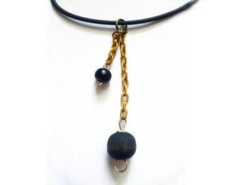 Vintage Gypsy's pendant - black & old gold