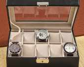 Monogrammed Mens Leather Watch Box - Personalized Watch Box - Groomsmen's Gift - Father's Day Gifts (1082)