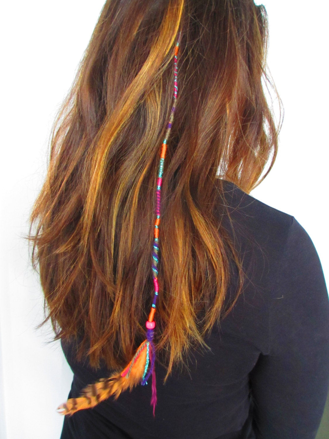 Colourful easy Clip in Feather Hair Wrap boho by NoodgeDesigns
