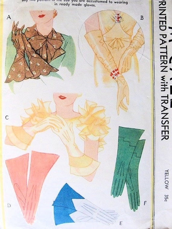 Gloves Pattern Six Beautiful Styles McCall 117 Vintage Sewing Pattern