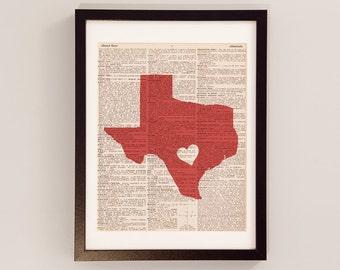 San Antonio Texas Dictionary Print - San Antonio Art - Print on Vintage Dictionary Paper - Choose Your Color - Texas Print