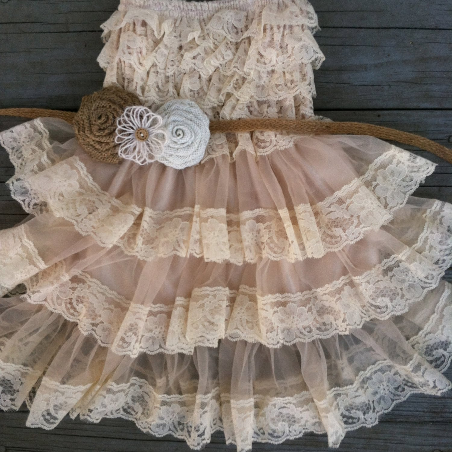 Rustic Flower Girl Lace Pettidress Rustic by CountryCoutureCo