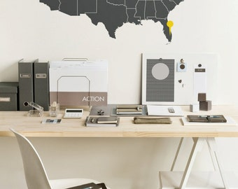 Large Vinyl wall USA map decal - United States wall sticker with the point signs - M001