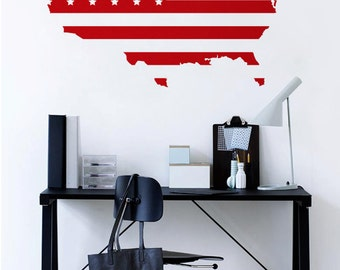 Large Red Vinyl wall USA map decal - United States map wall sticker like a flag- M004