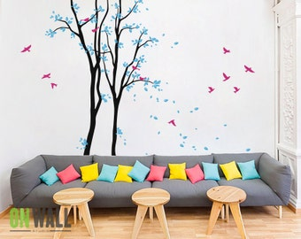Large  Tree  vinyl decal, nursery vinyl  wall decal, tree wall decal, Vinyl Wall  bird stickers, vinyl mural - MM017
