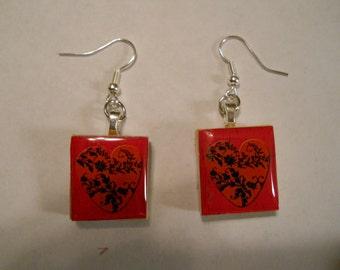 Scrabble Tile Earrings, Scrabble Tile Heart, Valentines Day, Heart Earrings, Heart Scrabble Tile, Scrabble tile, Handmade, Scrabble, Gift