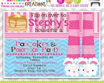 562: DIY - Pancakes and Pajamas 7 Party Invitation Or Thank You Card