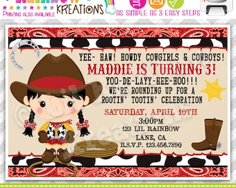 698: DIY - Cowgirl 5 Party Invitation Or Thank You Card