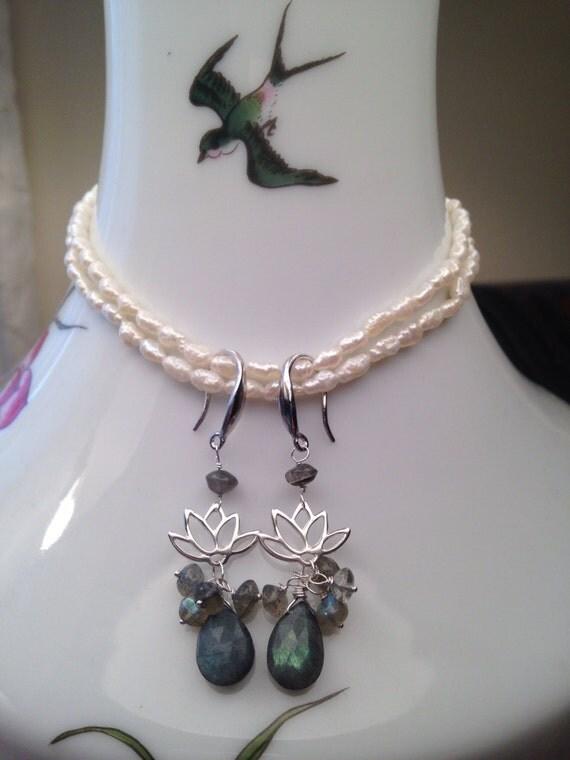 Labradorite Amp Lotus Earrings