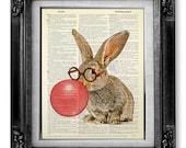 Nerdy Bunny Art Print, DICTIONARY ART PRINT, Rabbit Print, Bunny Illustration, Rabbit Painting Bunny Wall Art, Rabbit Drawing Bunny Poster