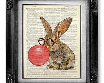 Bunny RABBIT Art Print, Rabbit Decor BOOK ART, Bunny Print Rabbit Illustration Bunny Painting Artwork, Nerd Rabbit Nursery Art Red Bubblegum
