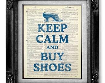 Fashion Art Print, FASHION ILLUSTRATION Art, Women SHOES Art, Fashion Wall Art, Fashion Wall Decor, Fashion Poster - Keep Calm and Buy Shoes