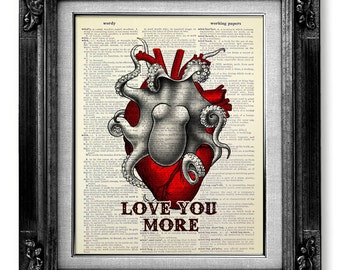 First ANNIVERSARY Gift Man Boyfriend Gift, Unique ENGAGEMANT Gift Him Husband, Cool Anatomy Heart Octopus Wall Art Wall Decor, Love You More