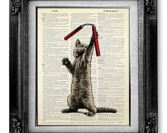CAT Art Print, Cat Painting, DICTIONARY Art Print, Dictionary Paper, Cat Wall Art Cat Drawing Cat POSTER Cat Artwork, Cool Kung Fu Bruce Cat
