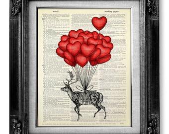 GIRL Room Decor, Unique BIRTHDAY Gift for Her, Living Room Decor, DEER Art Print, Deer Wall Art Deer Painting, Heart Red Balloon Deer Poster