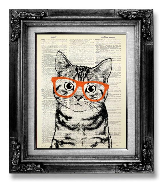 decorative art cat art wall hanging cat print cat poster art print - Decorative Art