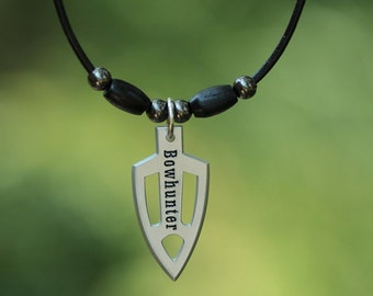 """Bowhunter Broadhead Arrowhead Pewter Pendant Hunting Necklace Jewelry Natural Black Bone Beads on a 20"""" Leather Cord"""