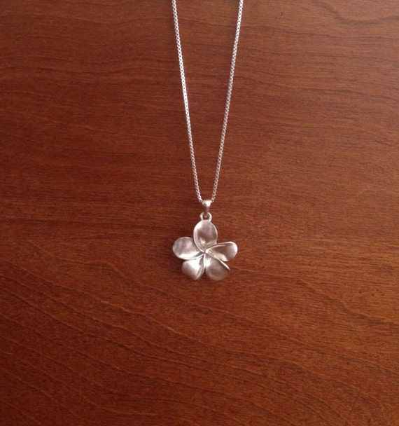 sterling silver plumeria flower necklace by saveitforarainyday