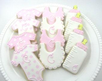 Baby Shower Cookies | Baby Girl Cookies | Monogram Baby Cookies | One Dozen