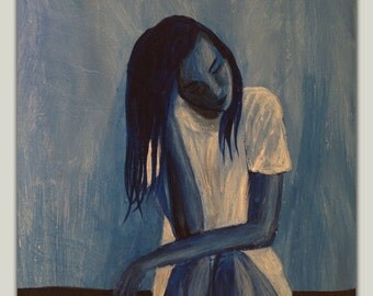 Blue Girl Abstract Painting