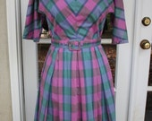 Vintage 1960s plaid day dress