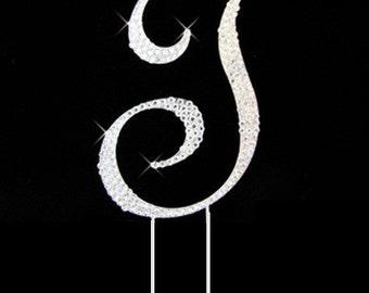 "Large Crystal Rhinestone Silver Letter ""T"" Monogram Wedding, Anniversary & Birthday Cake Topper *FREE SHIPPING*"